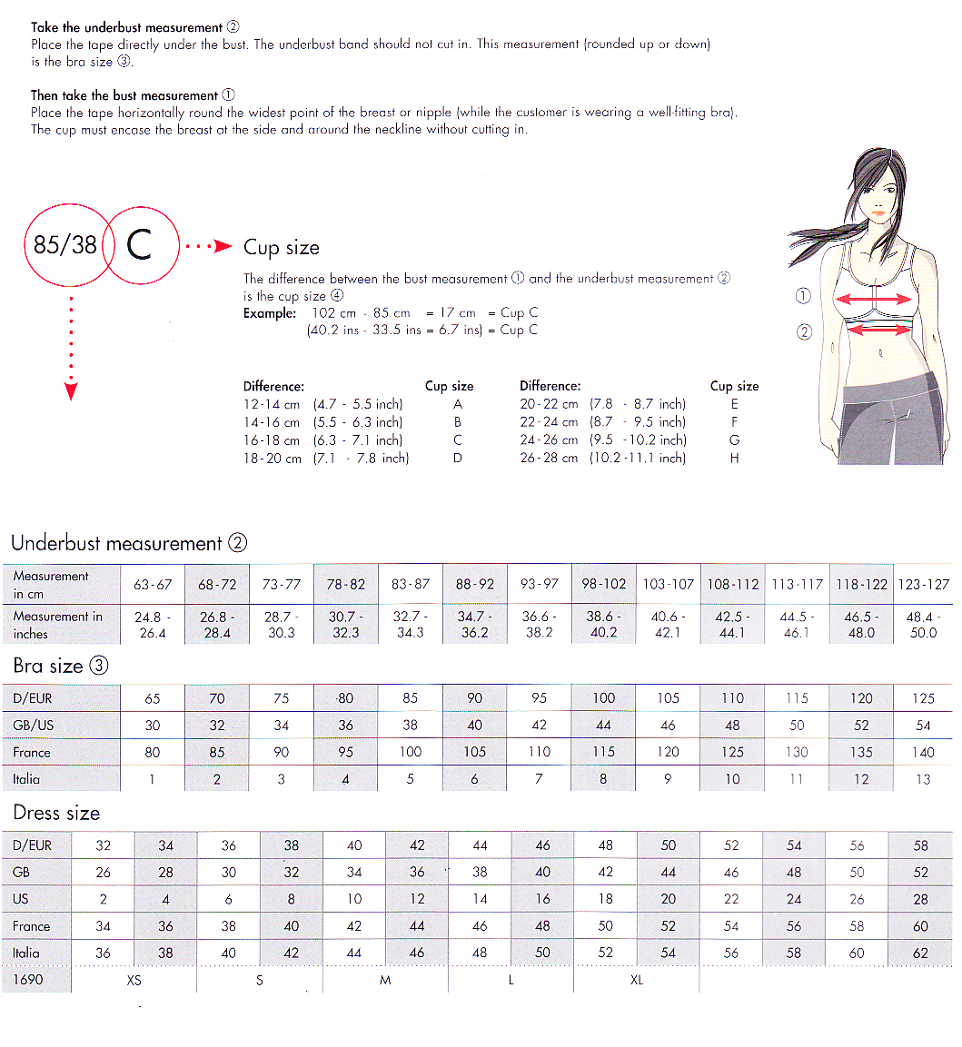 Finding the right bra doesn't have to be an ordeal if you know the basics of bra sizing. There are two parts to a bra's size: the chest size (also called the band size) and the cup size. The chest, or band, size is the part of the bra that runs across a girl's chest and around her back.
