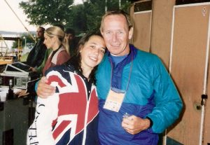 Triathlon Coach Steve Trew with Anneliese Heard